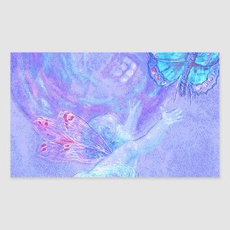 Blue - Cherub Chasing Butterflies Rectangular Stickers