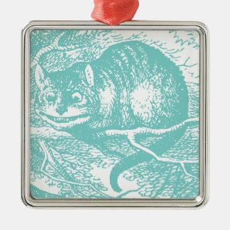 Blue Cheshire Cat Metal Ornament