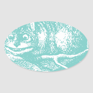 Blue Cheshire Cat Oval Sticker