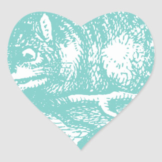 Blue Cheshire Cat Heart Stickers