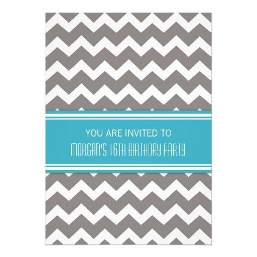 Blue Chevron 16th Birthday Party Invitations