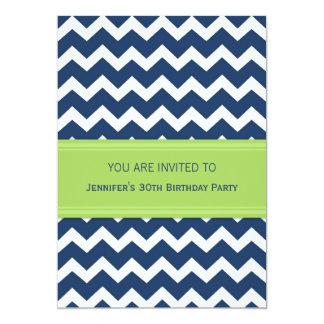 Blue Chevron 30th Birthday Party Invitations