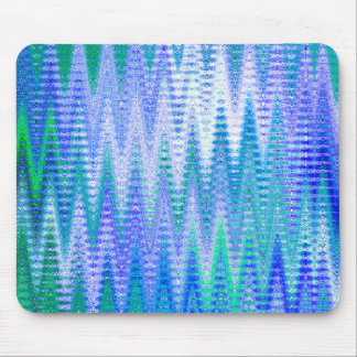 Blue Chevron Abstract Waves Pattern Mouse Pad