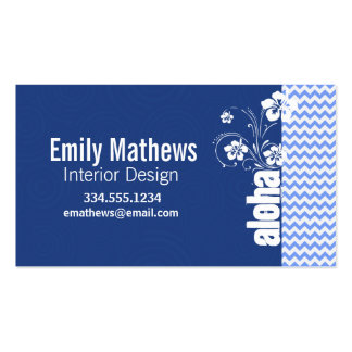 Blue Chevron; Aloha Double-Sided Standard Business Cards (Pack Of 100)
