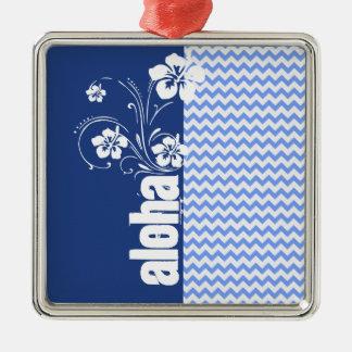 Blue Chevron; Aloha Metal Ornament