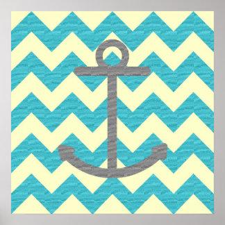 Blue Chevron Anchor Poster