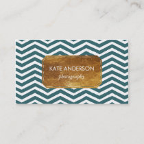 Blue Chevron and Faux Gold Foil Business Card