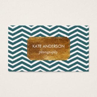 Blue Chevron and Faux Gold Foil Business Card