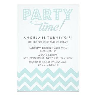 Blue Chevron and Polka dots Birthday Party Card