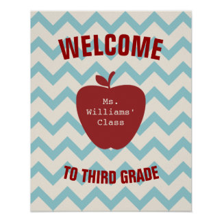 Blue Chevron and Red Apple Classroom Poster