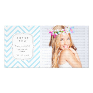 Blue Chevron - Any Occasion Thank you Photo Card