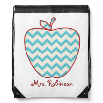 Blue Chevron Apple Drawstring Backpack