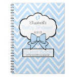 Blue Chevron Baby Shower Guest Book- Notebooks