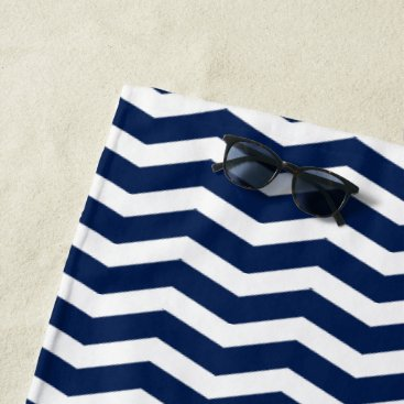 Beach Themed Blue Chevron Beach Towel