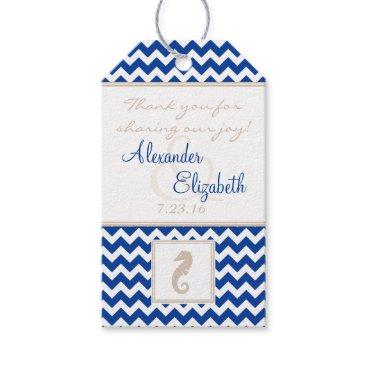 Beach Themed Blue Chevron Beach Wedding Guest Favor Thank You Gift Tags