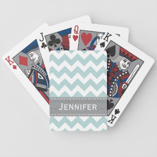 Blue Chevron Bicycle® Playing Cards