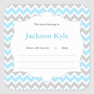 Blue Chevron Book baby shower Bookplate label