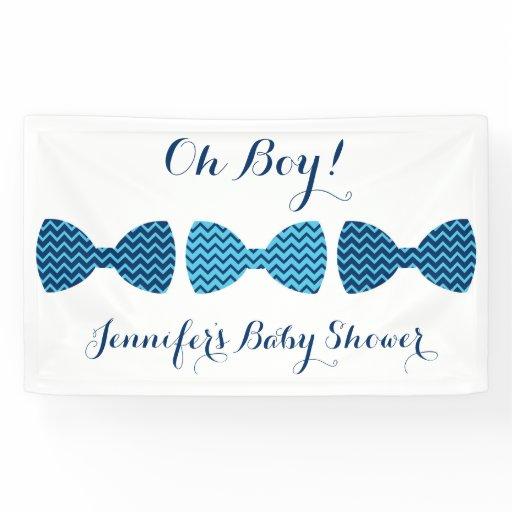 Blue Chevron Bow Tie Baby Shower Banner