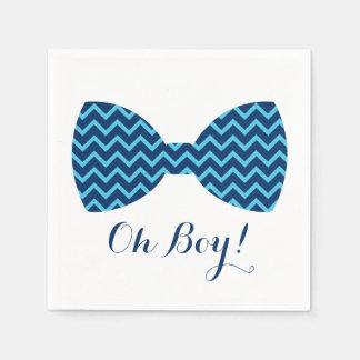Blue Chevron Bow Tie Baby Shower Paper Napkin