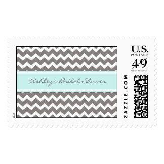 Blue Chevron Bridal Shower Wedding Stamps