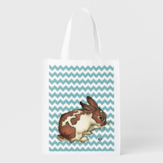 Blue Chevron Bunny Grocery Bag