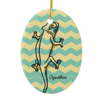 Blue Chevron Chameleon, Add Your Name Ceramic Ornament