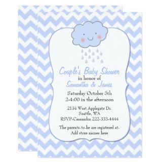 Blue Chevron Couple's Baby Shower Invitation
