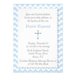Blue Chevron Custom Baptism Invitation