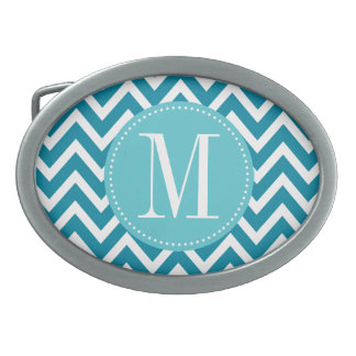 Blue Chevron Custom Monogram Oval Belt Buckle