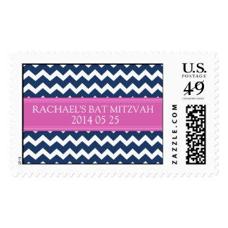 Blue Chevron Custom Name Bat Mitzvah Stamps