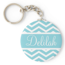Blue Chevron Custom Name Keychain