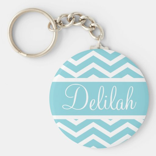 Blue Chevron Custom Name Key Chains