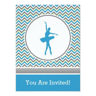Blue Chevron Dancer Party Invitation