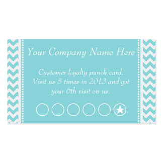 Blue Chevron Discount Promotional Punch Card Double-Sided Standard Business Cards (Pack Of 100)