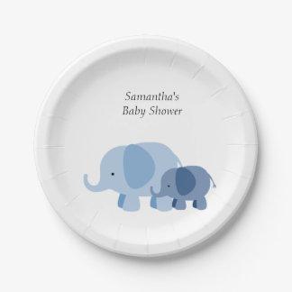 blue chevron elephant baby boy shower party plates