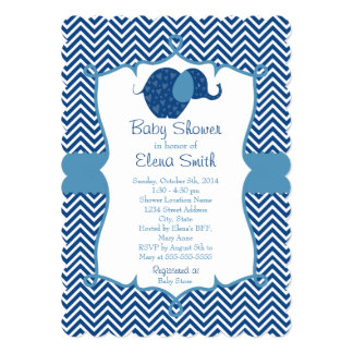 Blue Chevron Elephant Baby Shower 5x7 Paper Invitation Card