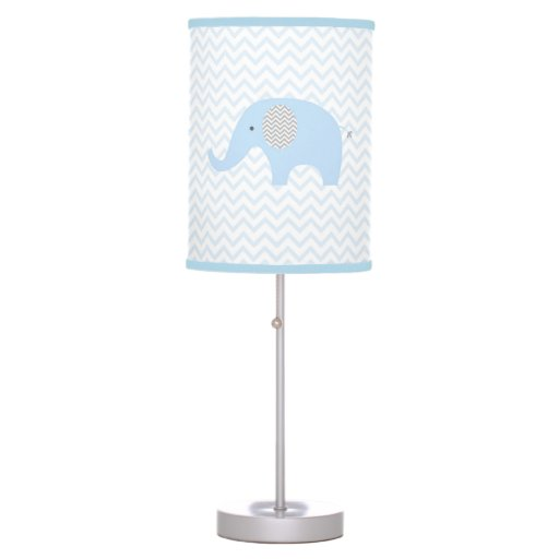 Blue Chevron Elephant Nursery Lamp