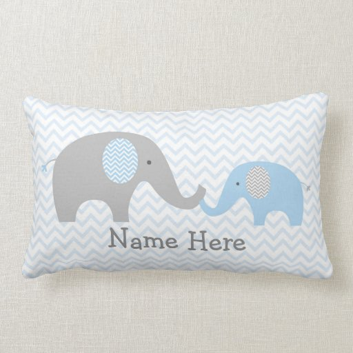 Blue Chevron Elephant Nursery Lumbar Pillow