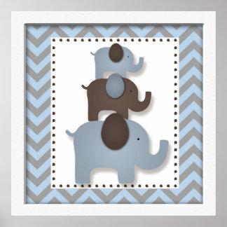 Blue Chevron Elephant Nursery Wall Art Poster