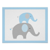 Blue Chevron Elephant Nursery Wall Art Print