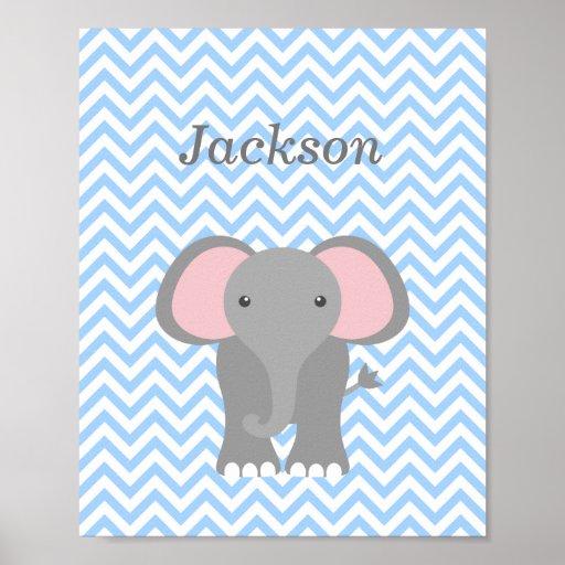 Blue Chevron Elephant Personalized Nursery Decor Posters