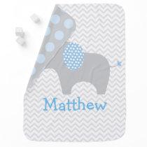 Blue Chevron Elephant Swaddle Blanket