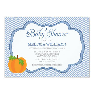 blue chevron frame pumpkin fall baby shower 5x7 paper invitation card
