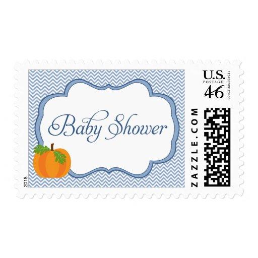 Blue Chevron Frame Pumpkin Fall Baby Shower Postage Stamp