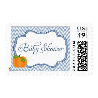 Blue Chevron Frame Pumpkin Fall Baby Shower Stamps