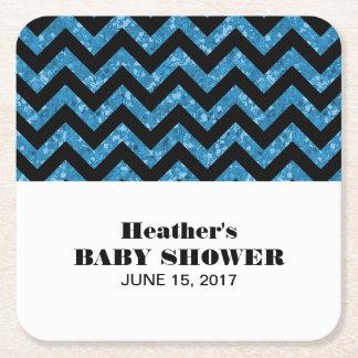 Blue Chevron Glitter Baby Shower Coasters Square Paper Coaster