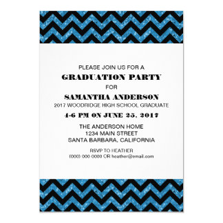 Blue Chevron Glitter Graduation Party Invite