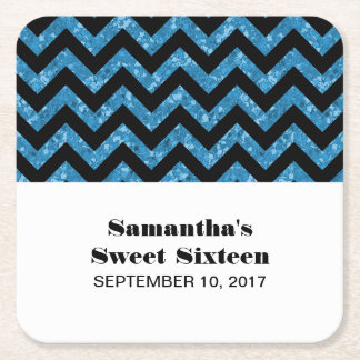 Blue Chevron Glitter Sweet 16 Paper Coasters Square Paper Coaster