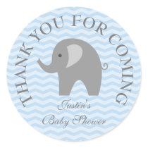Blue chevron grey elephant boy babyshower stickers