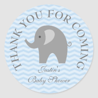 Blue chevron grey elephant boy babyshower stickers